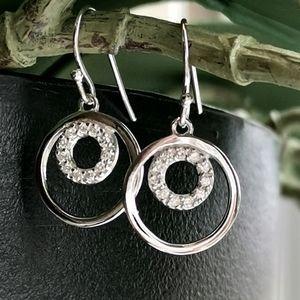 NWT Sterling Silver CZ hoop dangle earrings